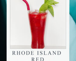 red cocktail shown on blue background