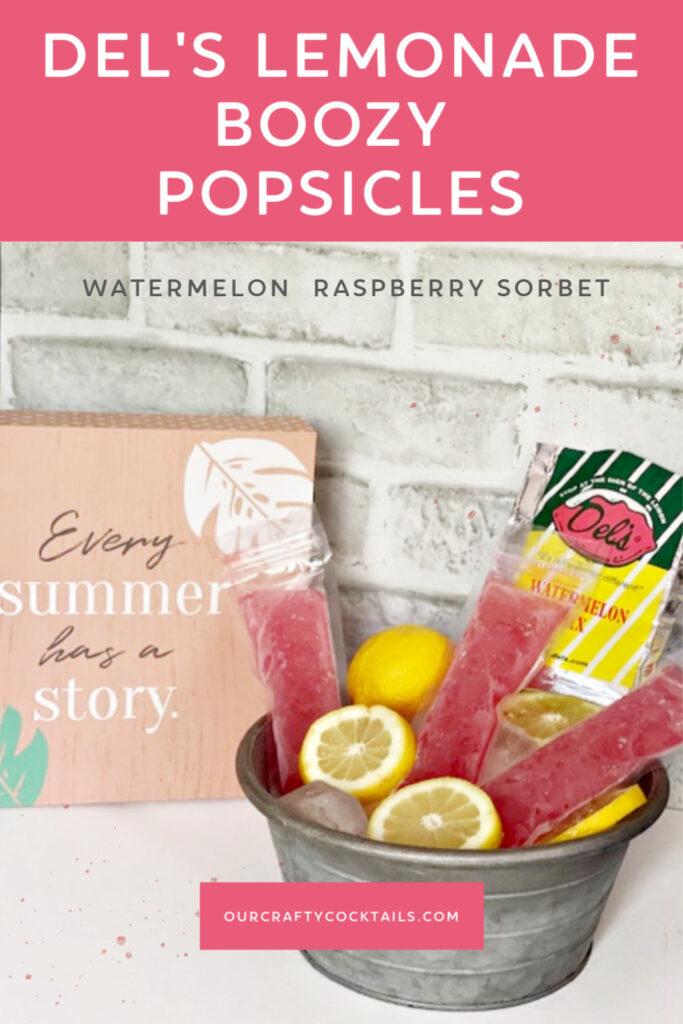 del's lemonade boozy popsicles shown in ice bucket