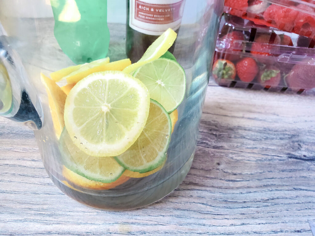 lemons in pitcher for red sangria