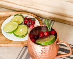 moscow mule with cranberries and limes