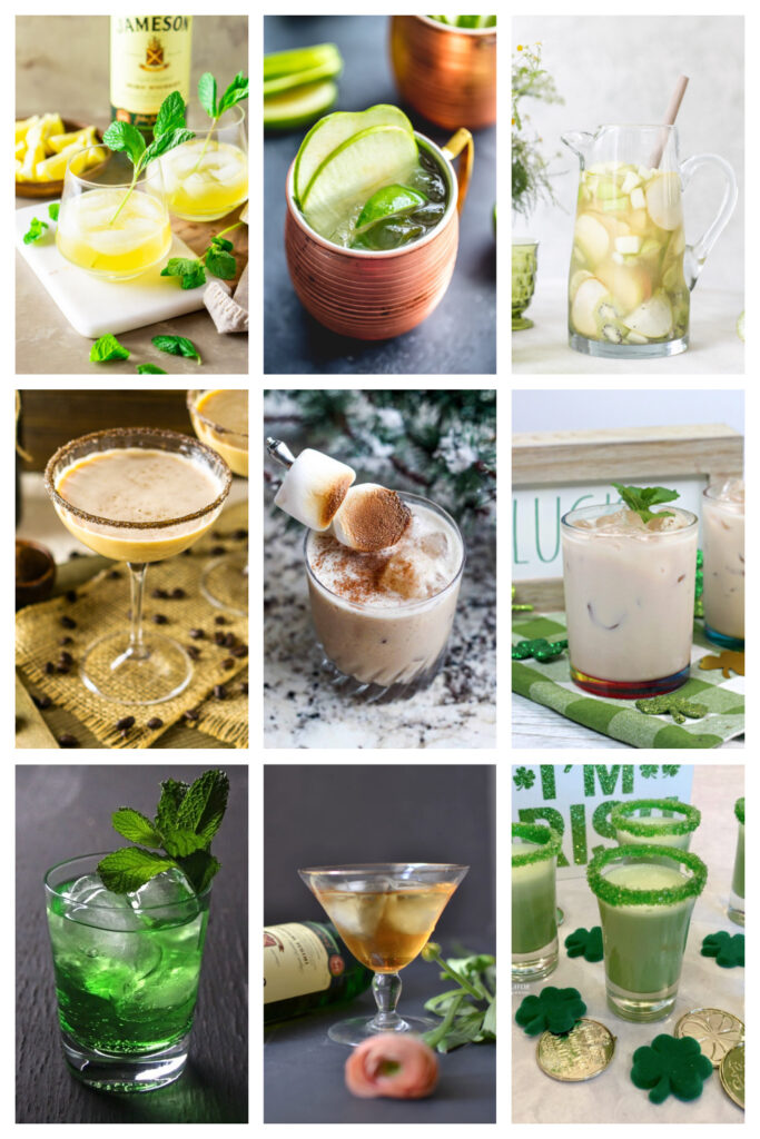 irish whiskey cocktails collage