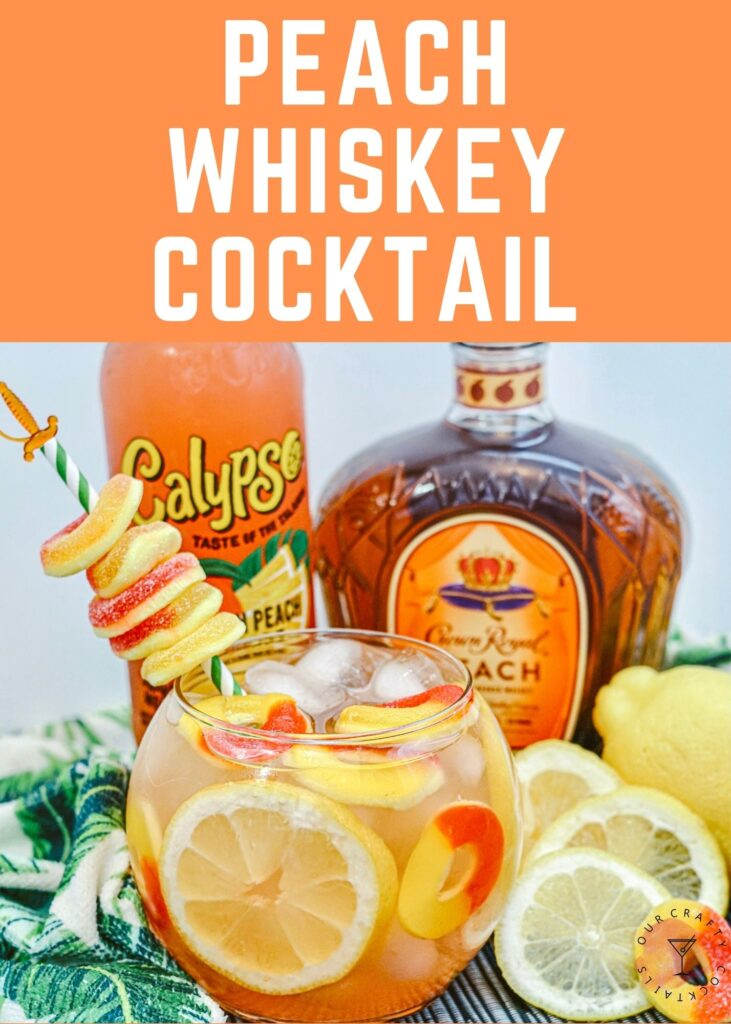 crown royal peach whiskey fish bowl cocktail with peach rings and lemons