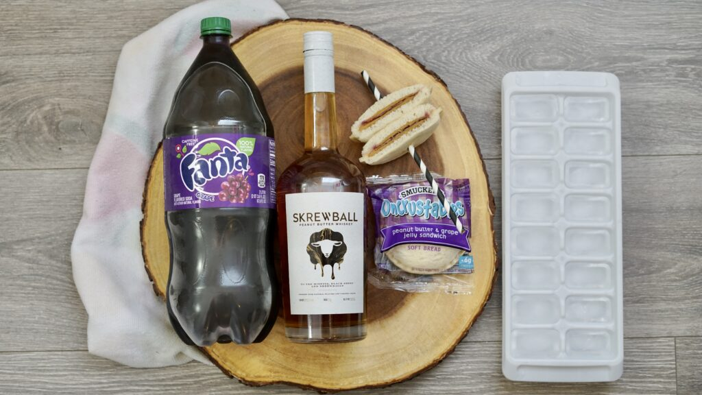 ingredients for Peanut Butter & Jelly Whiskey Cocktail