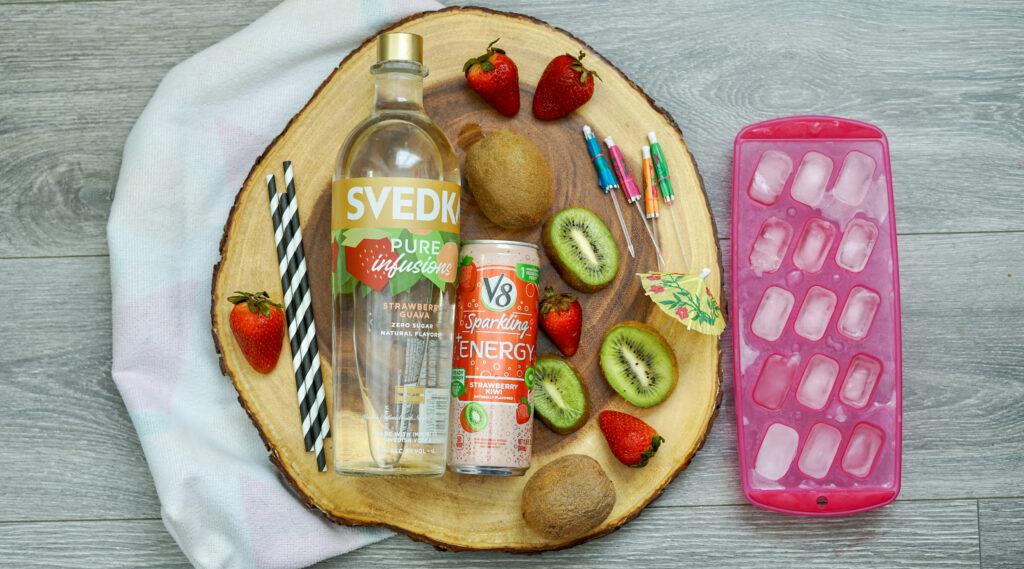 ingredients sparkling strawberry kiwi vodka cocktail