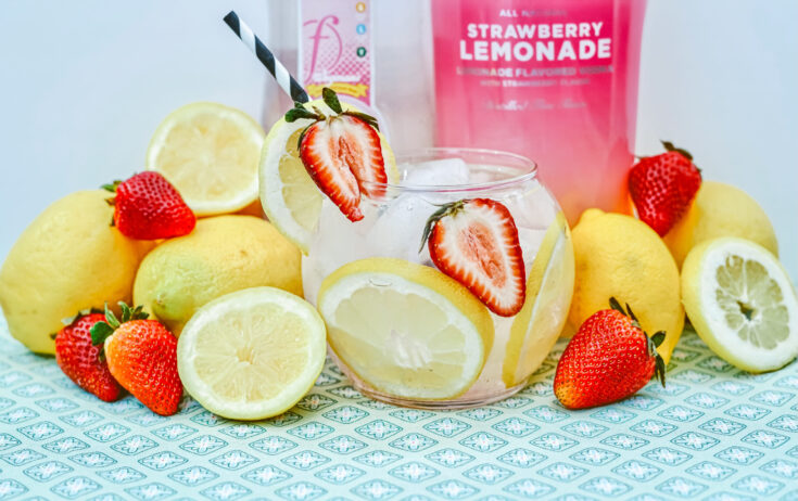 Strawberry vodka pink lemonade