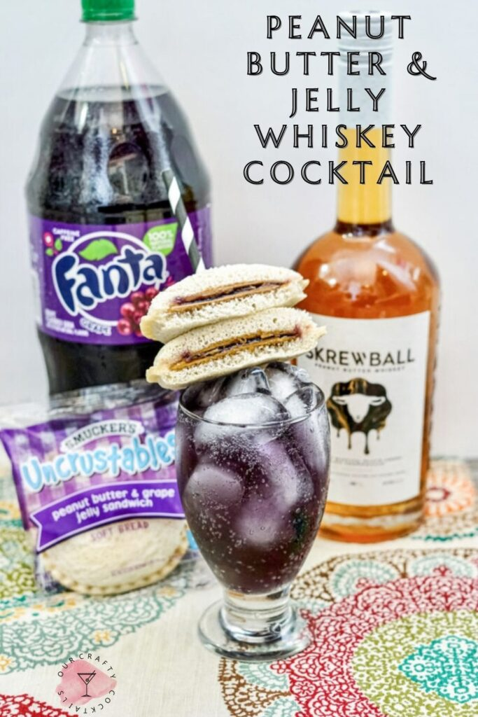 Skrewball Peanut Butter & Jelly Whiskey Cocktail pin image with text overlay