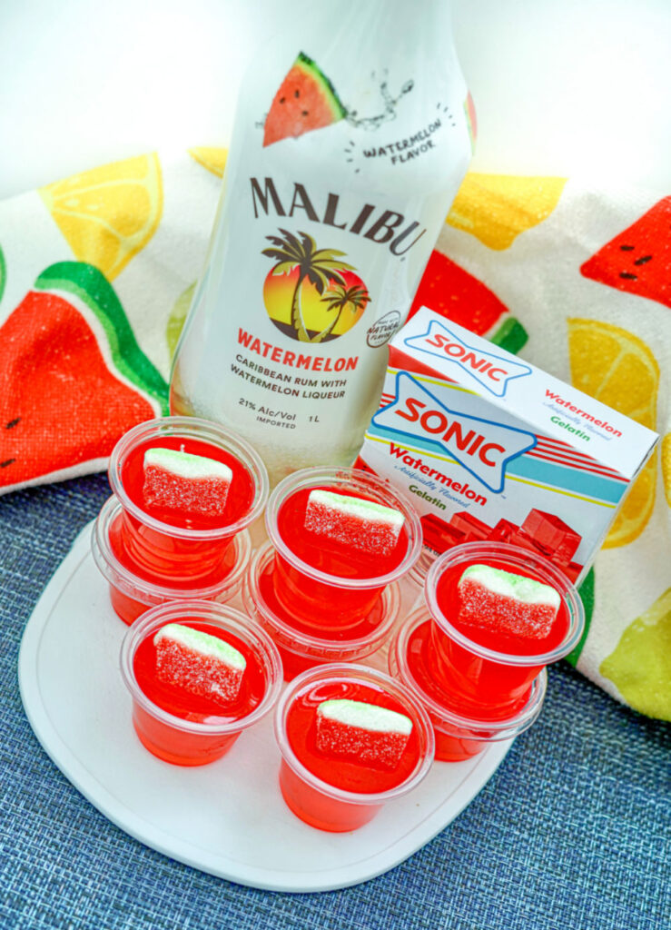 Make Spectacular Sonic Watermelon Jello Shots on counter