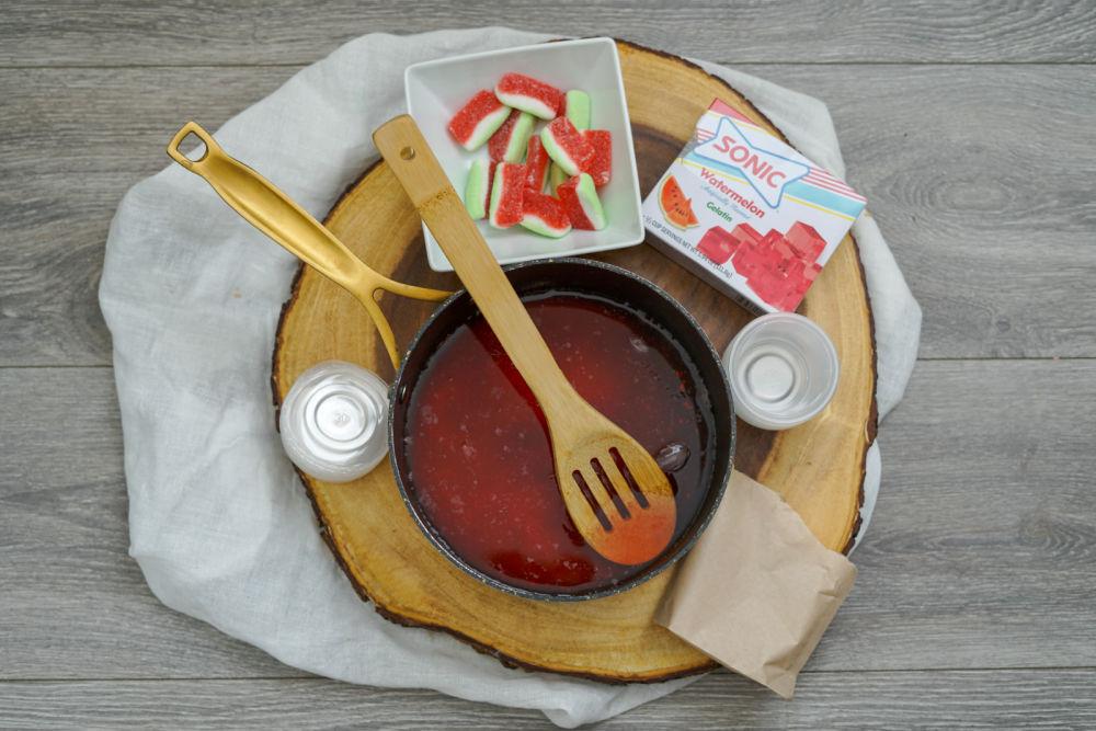 making watermelon jello shots in pan