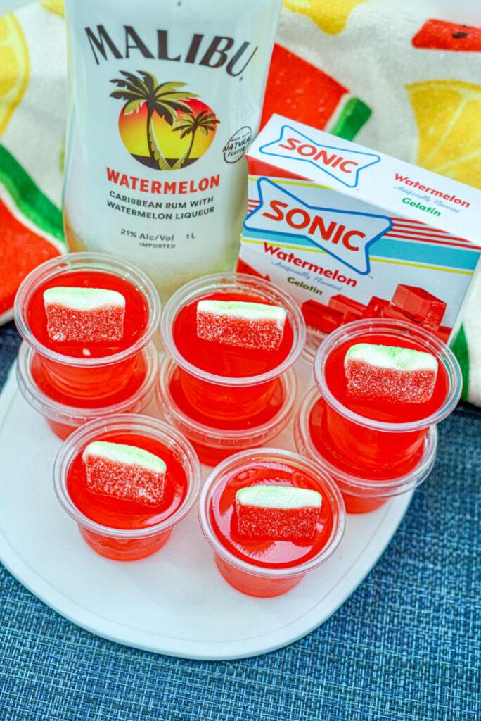 sonic jello shots on tray