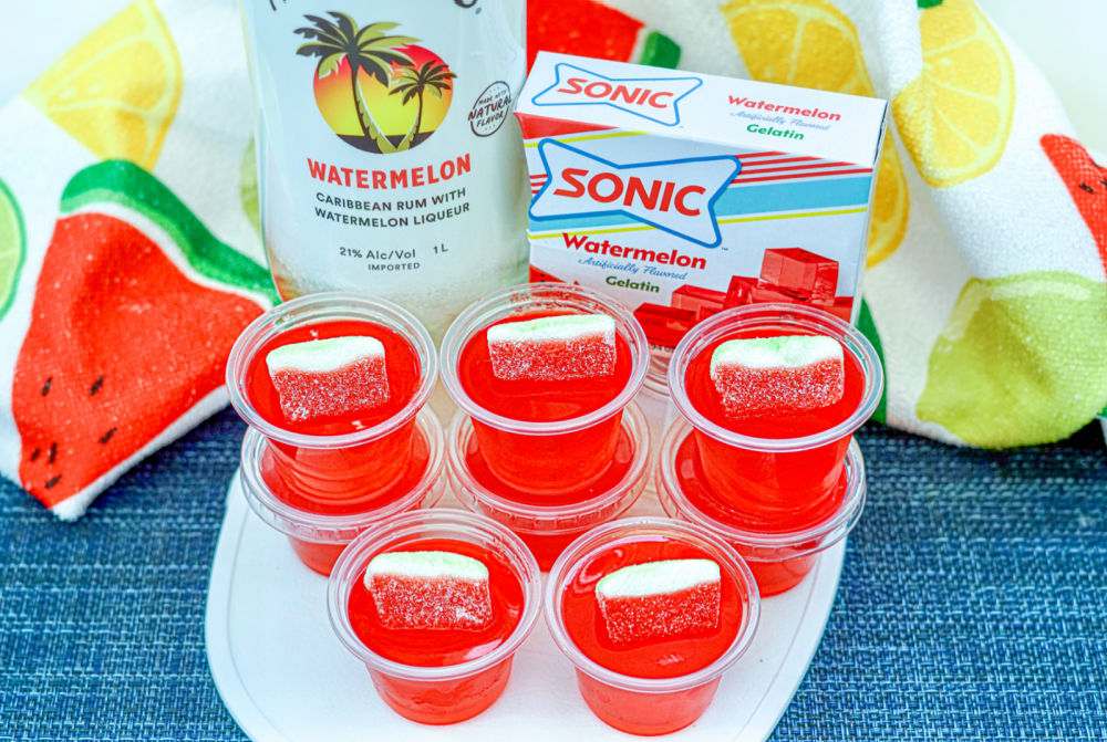 Make Spectacular Sonic Watermelon Jello Shots on table