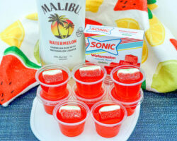 Make Spectacular Sonic Watermelon Jello Shots with malibu on counter