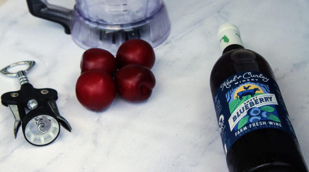 ingredients for Blueberry Plum Wine Slushies