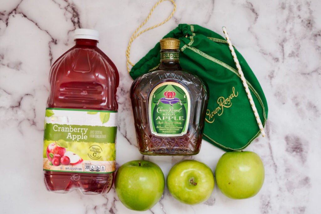 ingredients for crown royal cranapple cocktail