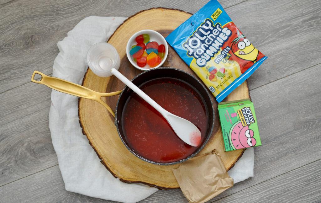 mixing jello in pan