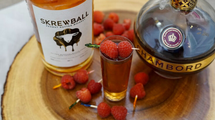 close up of Peanut Butter & Jelly Shots with Skrewball Whiskey