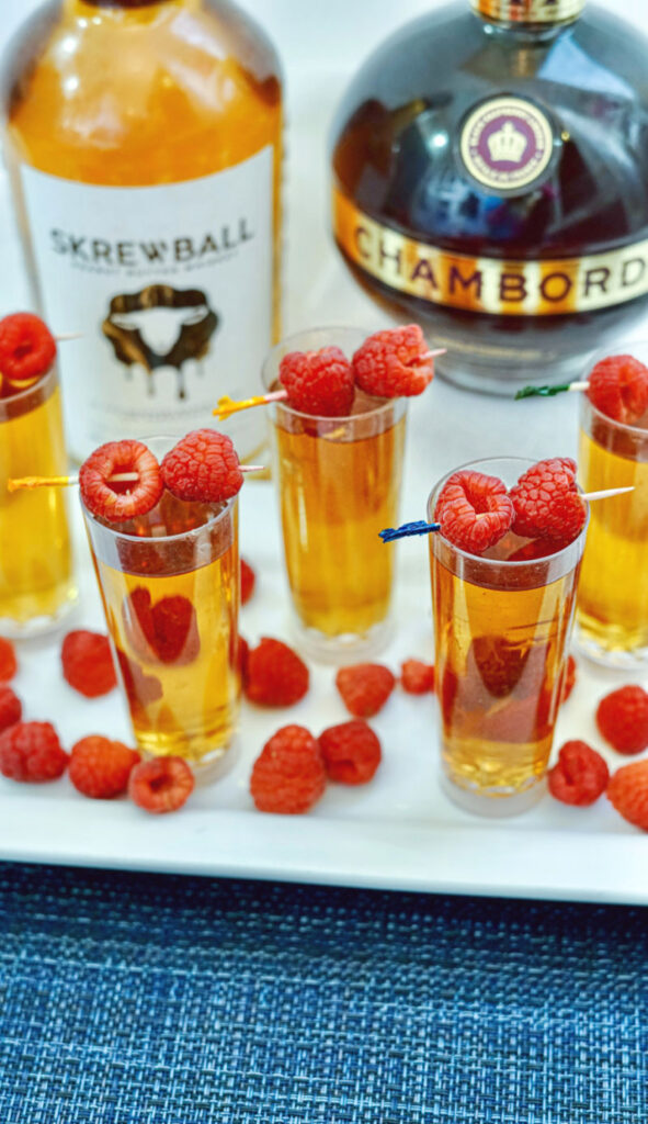 Peanut Butter & Jelly Shots with Skrewball Whiskey vertical image
