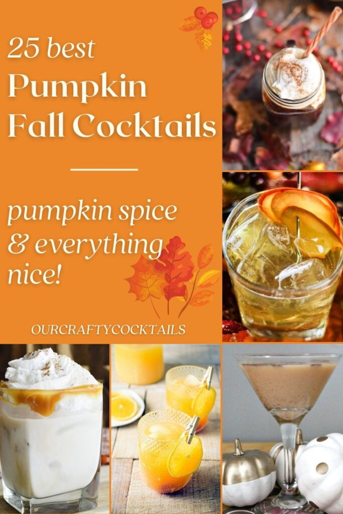 fall pumpkin cocktail recipes pin collage with text
