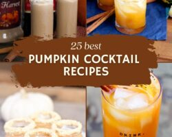 pin collage with text overlay fall pumpkin cocktails