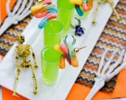 halloween shooters on white tray